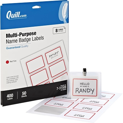 Quill® Name Badges; White with Red, 2-1/3x3-3/8, 400/Pack, Comparable to Avery 5095