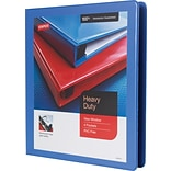 1 Staples® Heavy-Duty View Binder with D-Rings, Periwinkle