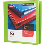 1-1/2 Staples® Heavy-Duty View Binder with D-Rings, Chartreuse