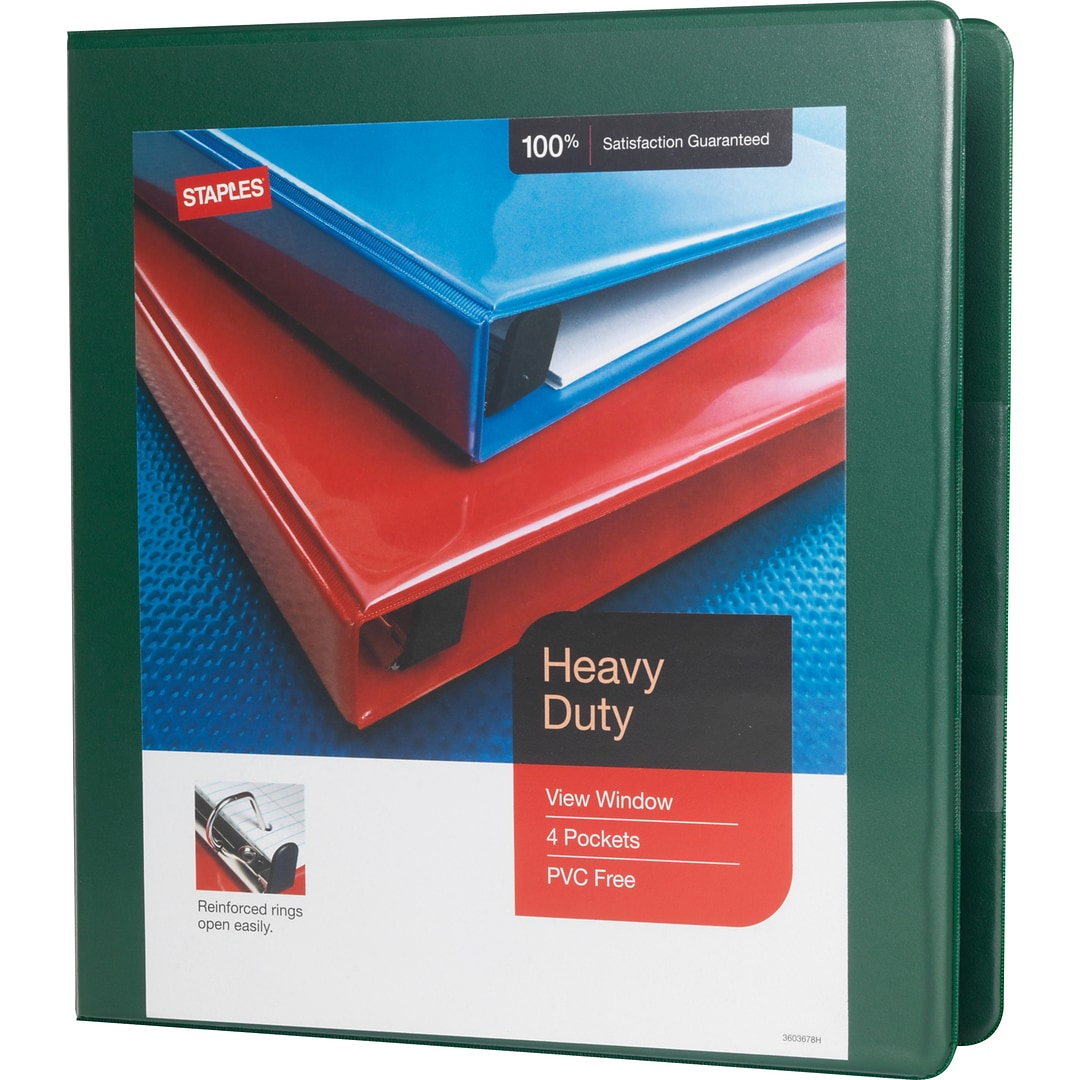 heavy duty 1 5 inch d ring view binder green 24682 us quill com