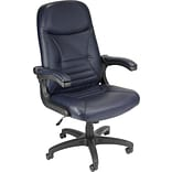 OFM™ Leather Executive/Conference Chair With Mobile Arms, Navy