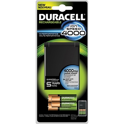 Duracell® Rechargeable ion Speed™ 4000 Charger, Includes 2 AA and 2 AAA NiMH Batteries