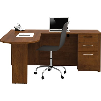 Bestar® Embassy Collection in Tuscany Brown, L-Shaped Peninsula Workstation w/ 1 Pedestal