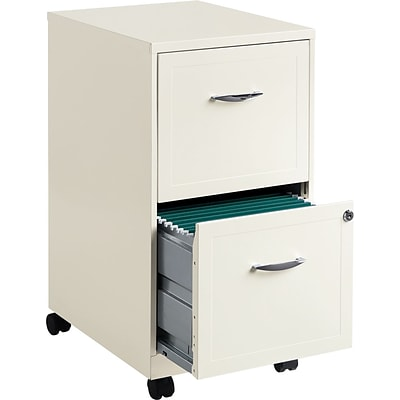Space Solutions 2-Drawer Mobile File Cabinet with Wheels, Letter-Width, Pearl White, 18 Deep (19156)