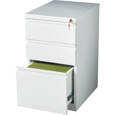 3-Drawer Mobile Pedestal File Cabinet, White, 20 Deep (19353)
