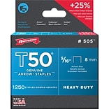 Arrow® T50® Type Staples, Quantity 1250 per box