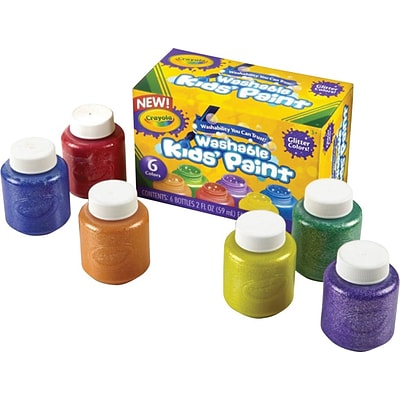 Crayola 6-color Glitter Washable Kids Paint, 2 oz., 6/Set, Red, Yellow, Blue, Green, Purple, Orange
