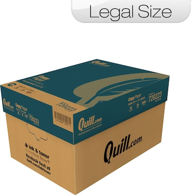 "Quill Brand Legal Copy Paper, 8 1/2"" x 14"", 92 Bright, 20 LB, Case of 10 Reams"