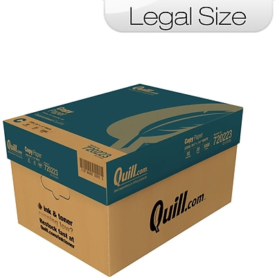 Quill Brand Legal Copy Paper, 8 1/2 x 14, 92 Bright, 20 LB, Case of 10 Reams