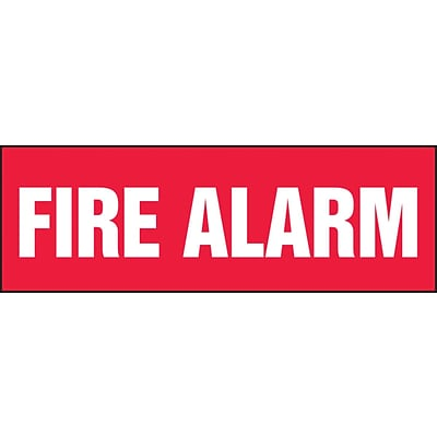 ACCUFORM SIGNS® Safety Label, FIRE ALARM, 4 x 12, Adhesive Dura-Vinyl, White on Red