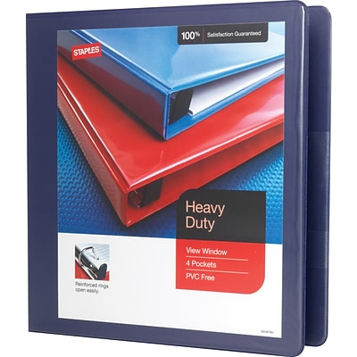 1-1/2 Heavy-Duty View Binder with D-Rings, Blue