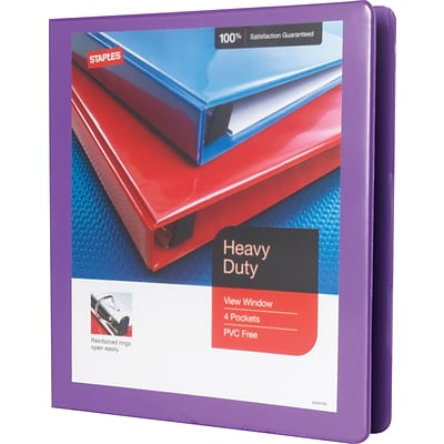 Heavy-Duty 1-Inch Slant D 3-Ring View Binder, Purple (24673-US)