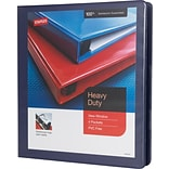 1 Staples® Heavy-Duty View Binder with D-Rings, Blue