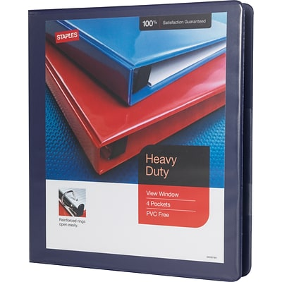 1 Heavy-Duty View Binder with D-Rings, Blue