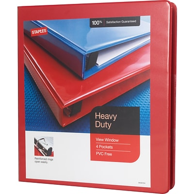 heavy duty 1 inch d 3 ring view binder red 24669 us quill com