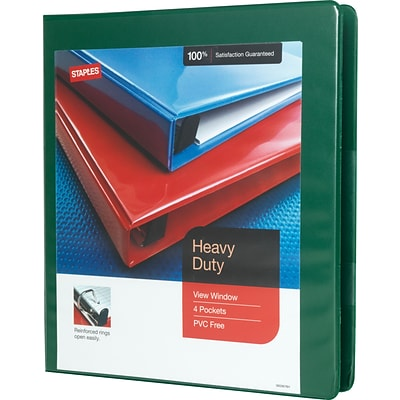 1 Heavy-Duty View Binder with D-Rings, Green
