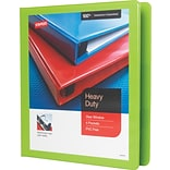 1 Staples® Heavy-Duty View Binder with D-Rings, Chartreuse