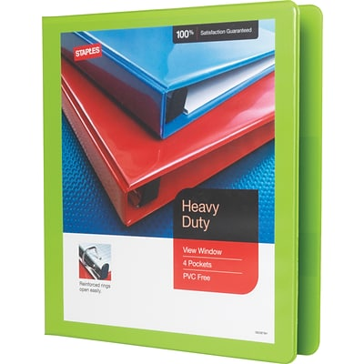 1 Heavy-Duty View Binder with D-Rings, Chartreuse