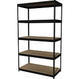 Hirsh Heavy Duty Industrial Steel Shelving, 5 Shelves, Black, 84H x 48W x 24D