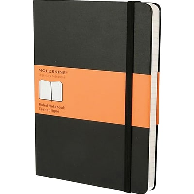 Moleskine Classic Colored Notebook, Extra Large, Ruled, Hard Cover, Black, 7.5 x 10