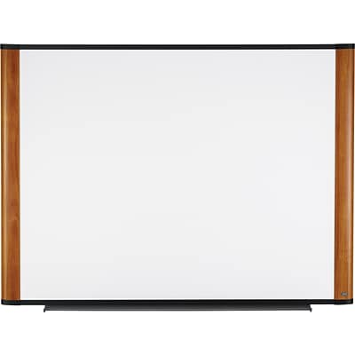 3M™ Widescreen Melamine Dry-Erase Board, Light Cherry Frame, 48 x 36