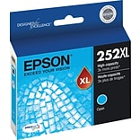 Epson DURABrite Ultra 252XL Cyan Ink Cartridge (T252XL220-S); High Yield
