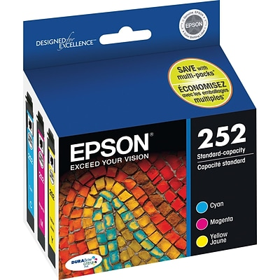 EPSON® DURABrite Ultra® 252 (T252520-S) Cyan, Magenta and Yellow Ink Multi-pack (3 cart per pack)