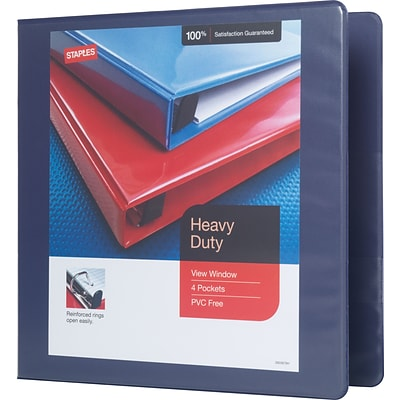 2 Staples® Heavy-Duty View Binder with D-Rings, Blue