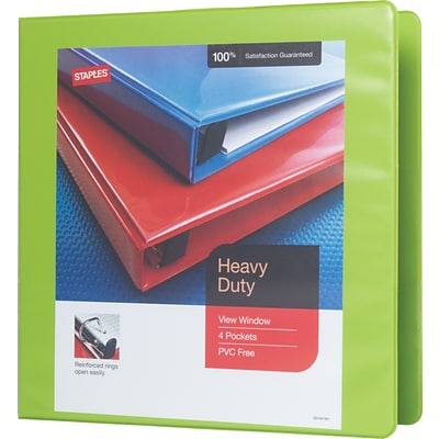 2 Staples® Heavy-Duty View Binder with D-Rings, Chartreuse