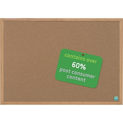 MasterVision® Earth Cork Board, 36 X 24, Wood Frame