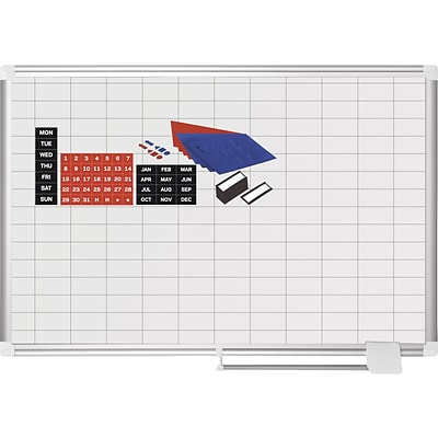 MasterVision® Magnetic 1x 2 Grid Planner 24x36, Aluminum with Kit