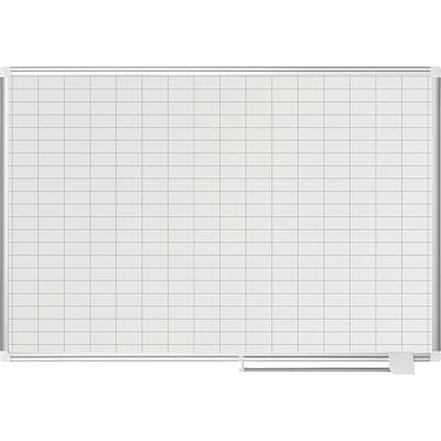 MasterVision® Magnetic 1 x 2 Grid Planner 36 x 48, Aluminum