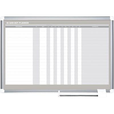 MasterVision In-Out Magnetic Dry-Erase Board, Silver Frame, 24Hx36W