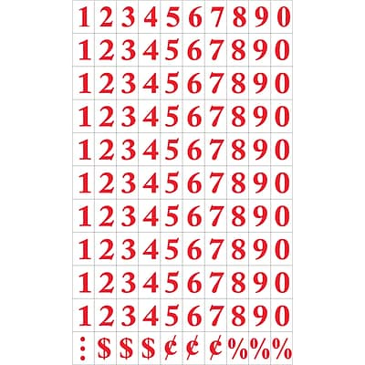 MasterVision Interchangeable Number Magnets, Red, 3/4H, 110/Pack