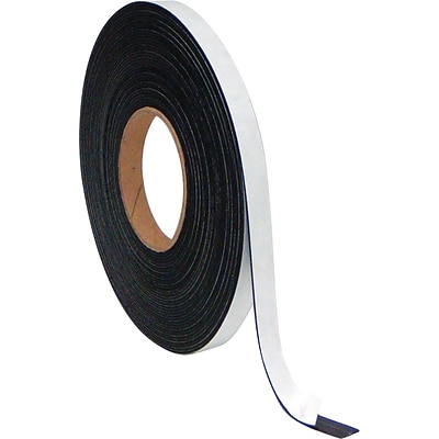MasterVision Magnetic Adhesive Tape Roll, Black, 1/2W x 50L