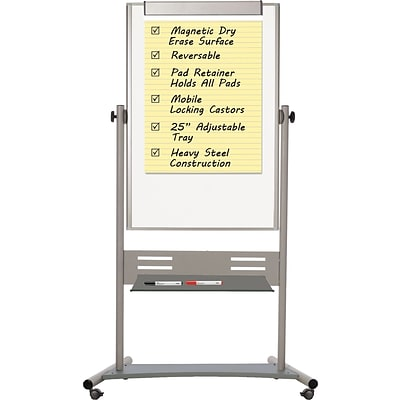 MasterVision® Revolver Dry-Erase Easel, 80Hx47W, Silver Frame