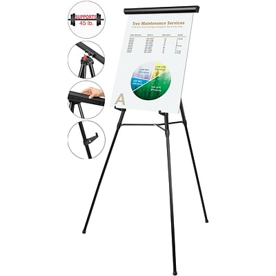 MasterVision® 3-Leg Heavy-Duty Telescoping Display Easel, Black, 38-69H