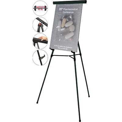 MasterVision Lightweight Folding Telescoping Easel, Black, 35-64H