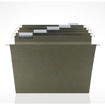Hanging File Folders, Standard Green, Letter, 5-Tab, 250/Box, Full Case