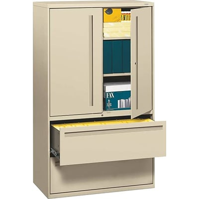 Hon® 700 Series 2-Drawer Lateral File Cabinet w/Roll-Out & Posting Shelves, Putty, Letter/Legal (795LSL)