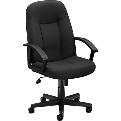 basyx by HON® HVL601 High-Back Task Chair, Fabric, Charcoal, Seat: 20 1/2W x 17D, Back: 20 1/2W x 26 1/2- 26 1/2H