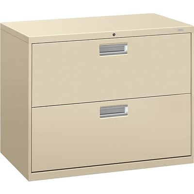 HON® Brigade 600 Series Lateral File Cabinet, A4/Legal/Letter, 2-Drawer, Putty, 19 1/4D