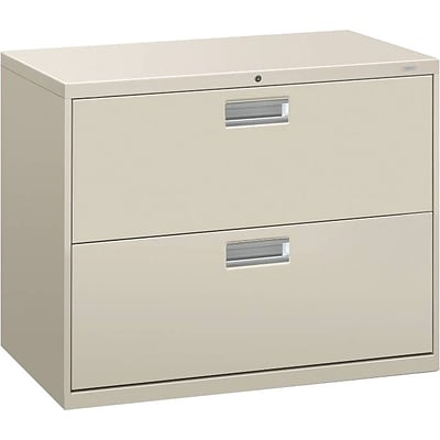 HON® Brigade 600 Series Lateral File Cabinet, A4/Legal/Letter, 2-Drawer, Light Gray, 19 1/4D