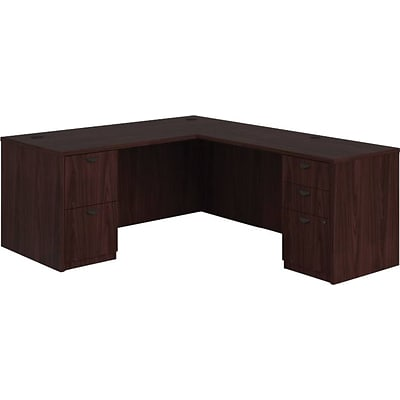 HDOD basyx by HON BL Laminate Bundle Solutions L-Station with 2 Pedestals, Mahogany, 29.0 H x 66.0 W x 78.0 D