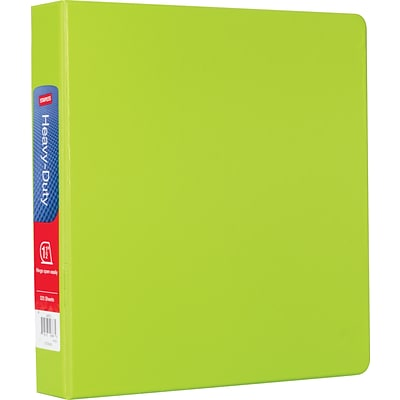 Staples® Heavy-Duty Binder with D-Rings, Chartreuse, 350 Sheet Capacity, 1-1/2 Ring