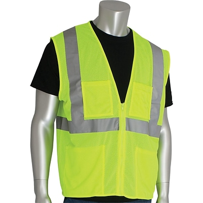 PIP® 4-Pocket Safety Vest; ANSI Class 2, Zipper Closure, Hi-Vis Lime Yellow, Size 5X