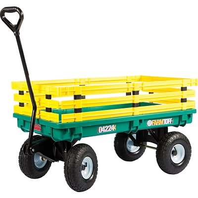 Millside Industries Polypropylene 20 x 38 Kids Wagon, Green With Yellow