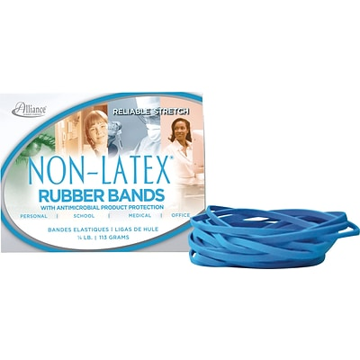 Alliance® Non-Latex Rubber Bands w/Antimicrobial Protection; #64 (3-1/2 x 1/4), Cyan Blue