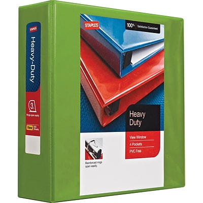 Staples Heavy Duty 3 3-Ring View Binder with D-Rings and Four Interior Pockets, Chartreuse (24692)