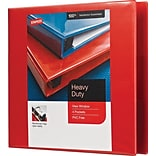 3 Heavy-Duty View Binders with D-Rings, Red